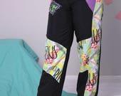 neon ski pants 80s 90s ski suit, winter snowboard pants, warm snow track pants, nylon pants