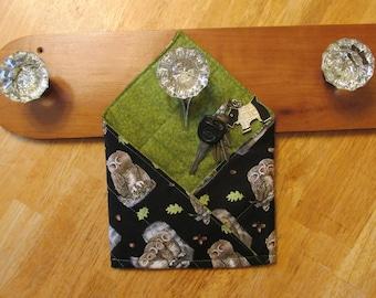"Handmade Reversible ""Forget-Me-Not"" Doorknob Pocket, Organizational Reminder Pouch, owls, black, green, birds"