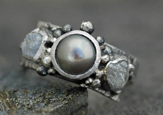 Raw Diamonds and Steel Grey Pearl in Textured Sterling Silver Ring- Custom Made