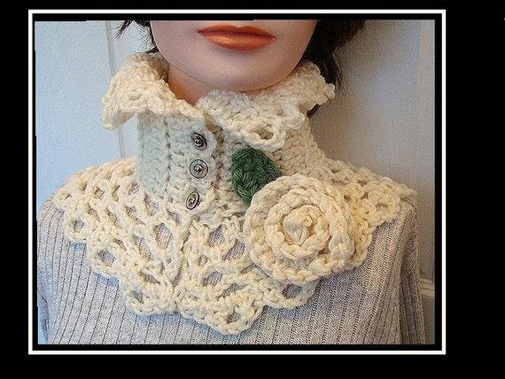 Crochet Pattern neckwarmer collar scarf num 179, CARMELLA .Romantic ...