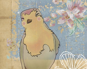 mademoiselle Carride bird vintage postcard 8x10 print