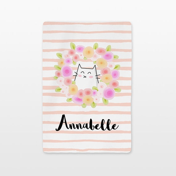 Cat Floral Baby Blanket Personalized Name Custom Unisex Baby Girl Baby Boy Kids Minky Fleece Newborn Gift Idea Flower Wreath Striped Peach