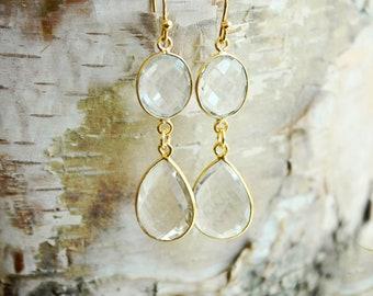 Bridal Earrings Gold Wedding Earrings Bridal Jewelry Wedding Jewelry Crystal Earrings Bridesmaid Earrings Teardrop Earrings Dangle Earrings