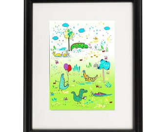 Children's illustration,nursery art, crocodile, green, nursery decor, printable, Instant image Download Digital, wall art