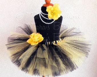 Bumble Bee Tutu, Custom Sewn Tutu in Black and Yellow, Perfect for Birthdays and Halloween, Baby Tutu, Girls Tutu, Tween Tutu