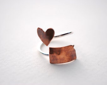 Kansas Twist Place Ring (Sterling Silver & Copper Place State Love Map Ring)