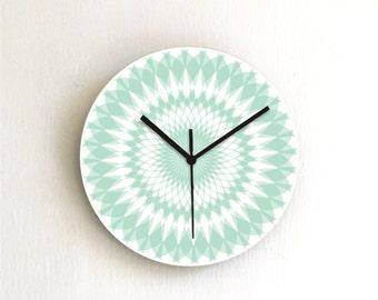 Mandala doily Turquoise Geometric Wall Clock,aqua pastel round printed graphic design wood decorative patterned clock,nursery kids decor