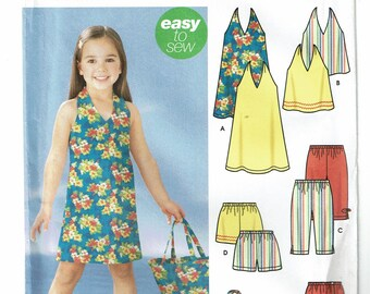 Simplicity Pattern 5531 Child's Dress or Top, Capri Pants, Shorts, Skort and Bag Size A (3-8) UNCUT