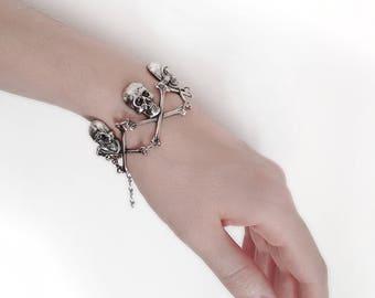 Silver Skull Bracelet Men Women Halloween Jewelry Gothic Jewellery Skull Jewelry Silver Gothic Bracelet
