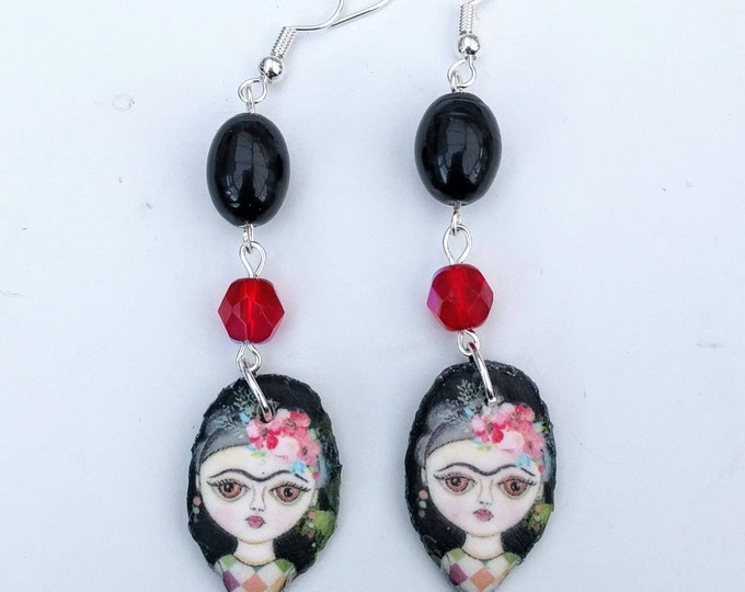 Black and red Frida Statement Earrings