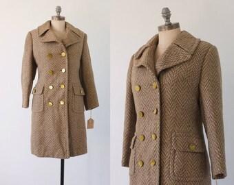vintage 60s brown wool coat   vintage 60s coat   brown and white herringbone coat   heavy wool winter coat