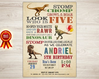 Dinosaur 5th Birthday Invitation, Dinosaur Invitation, Dinosaur Printable Invitation, Dinosaur Invite, Boy Dinosaur Party, Printable Invite