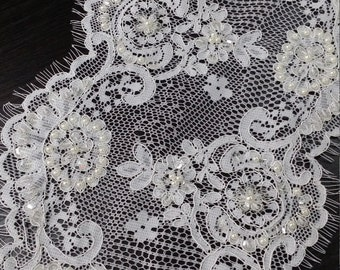 Beaded ivory lace trimming Sequin lace trim Pearl lace French lace trim Chantilly lace Bridal lace Wedding lace White lace per piece SM001LB