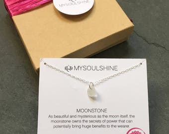 Sterling Silver Dainty Moonstone Necklace