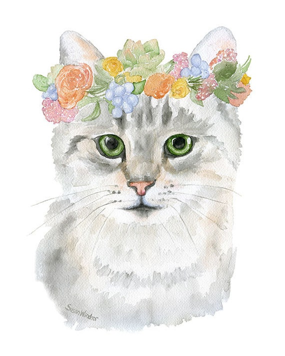 Cat Floral Watercolor Painting 8 x 10 Fine Art Giclee