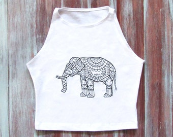 Boho Elefanten Mandala Crop Top-weiß-Yoga Crop Top-Mandala Elefant-Training Crop Top-Fitness-Studio Top