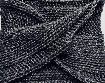 Heavy Crochet Infinity Scarf/ Hooded Shawl/Gray