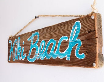 Personalized Beach Sign on Reclaimed Distressed Wood Beach Art Wooden Surf Sign Coastal Beach Surf Baby Nursery Beach Themed Kids Room