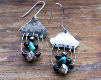 Sterling silver howlite turquoise earrings