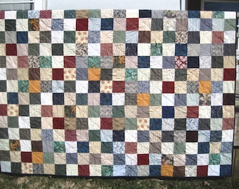 Queen Size Custom Made Patchwork Quilt. Classic Quilted Bedding Made to Order. Farmhouse Americana decor. Wedding Gift Anniversary Gift