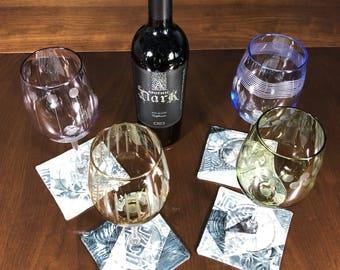 Wine Glass Coaster Set, Set of 4 Beverage Coasters, Crazy Quilt Coasters, Grey Batik Coasters, Fabric Coasters,  Four Handmade Mug Rugs