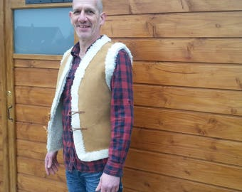 Sheep wool lined leather vest
