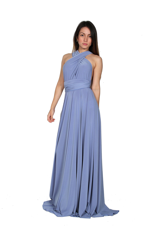 Blaue Gelassenheit Brautjungfer Kleid langes Kleid lange