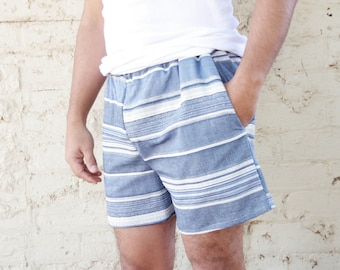 The One with the Blue Stripes ~ Turkish Baths Men's Collection ~ Sleep Shorts Pyjamas Boxer Sleepwear Pajamas guys Pj's  summer shorts