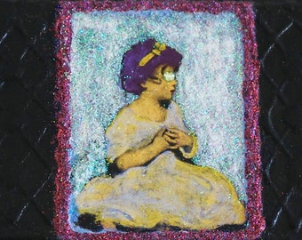 Purple Haired Green Eyed Girl. Wall Decor. Assemblage Collage