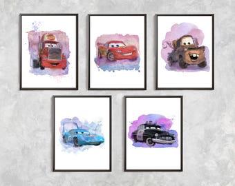 5 Cars Print Set Cars Watercolor Poster Lightning McQueen Cars Watercolor Print Tow Mater Mack Truck The King Sheriff Cars Boys Room Decor