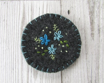 Upcycled Hand Embroidered Felted Brooch, Blue Floral Embroidered Brooch, Felted Embroidered Pin