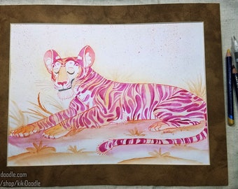 """Original // Watercolor Sketch Resting Tiger // 9x12"""" matted to 11x14"""" // frame ready"""