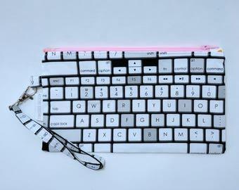 Apple Keyboard Wristlet - Pink Zipper