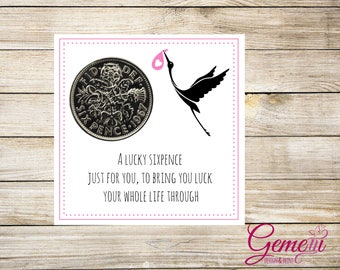 Lucky Sixpence, New baby, Girl, baby shower, Keepsake, Gift