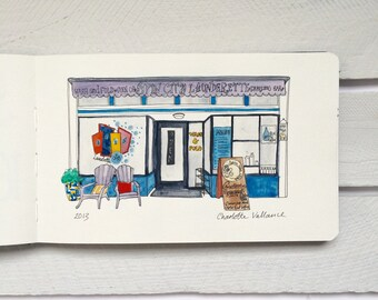 Spin City Laundrette - Original Watercolour