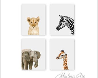Safari Nursery Decor, Nursery Wall Art, Baby Animal Prints, Jungle Animals, 8x10 Wall Decor, Kids Room Lion Elephant Zebra Giraffe Set of 4