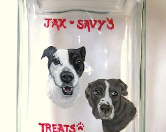 Personalized Dog Treat Jar, Pet Portrait Painting, Pitbull, Dog Biscuit Container, Custom Canister, Hand Painted Pet, Dog Snack Holder