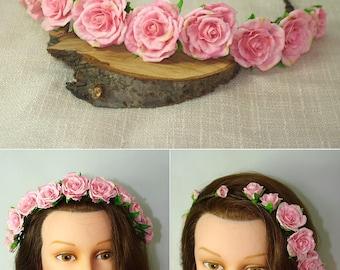 Flower Crown , floral crown ,Pink floral crown ,hair wreath