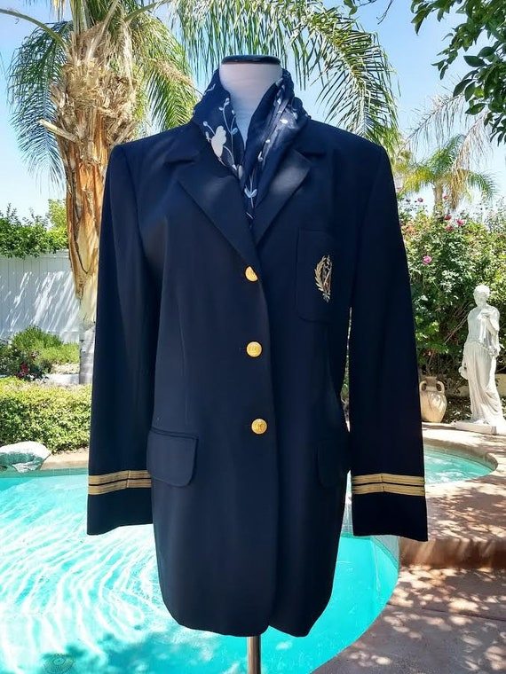 Classic 80's  Navy Blue  Blazer with Gold Emblem and Gold Buttons, Made in USA, Size 12, 100% Wool.
