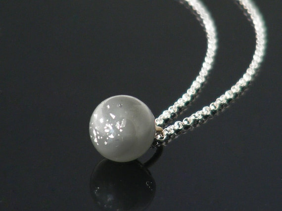 Delicate Victorian Drop Pendant | Unique Soft Grey, Silver Foil Glass Charm String Necklace, Antique Glass Charm String Ball - 20 Inch Chain