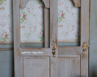 ONE Gray Cottage Door Dollhouse Miniature Farmhouse Shabby Chic Country 1:12