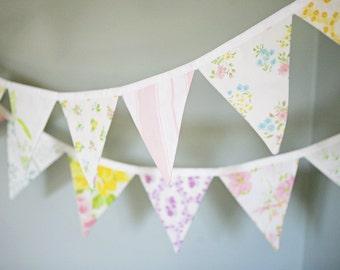 Pastel Fabric Bunting Banner / Baby Girl Bunting / Vintage Nursery Decor / Garden Tea Party / Baby Shower Decoration / Flag Garland