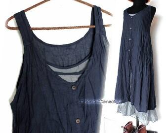 2Color】 Bi-color layered long dress Cotton100% Natural Peasant Asian Boho