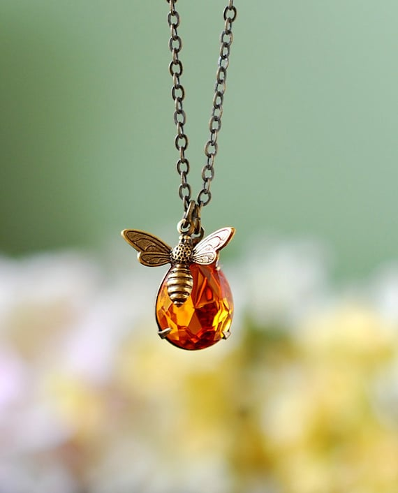 Bee and honey drop necklace bee jewelry honey bee humble bee aloadofball Images