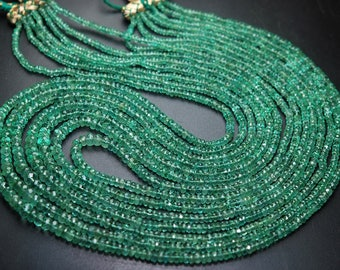 21 Inch Strand,Natural Emerald Micro Faceted Rondelles, 2.5-5.5mm