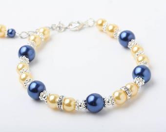 Navy and Yellow Bridesmaid bracelet, Navy and yellow wedding jewelry, Flower girl Bracelet, Junior Bridesmaid bracelet, Bridesmaid Gift
