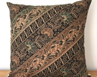 Vintage Floral Indonesian Batik Pillow Cover 16 x 16, Ethnic, Handmade