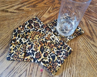 Leopard Print Fabric Coasters Set of 4