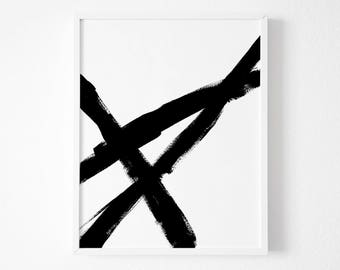 Painting Black and White, Black and White Abstract Prints, Large Wall Decor, Minimal Print, Extra Large Art Print, Modernist Painting