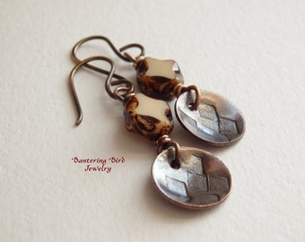 Simple Brown Earrings with Small Copper Charms, Diamond Shaped Dangle, Everyday Earrings, Hand Stamped Copper Jewelry